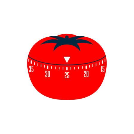 Timer pomodoro. Pomodoro time managment technique - kitchen timer. Flat stile vector illustration.