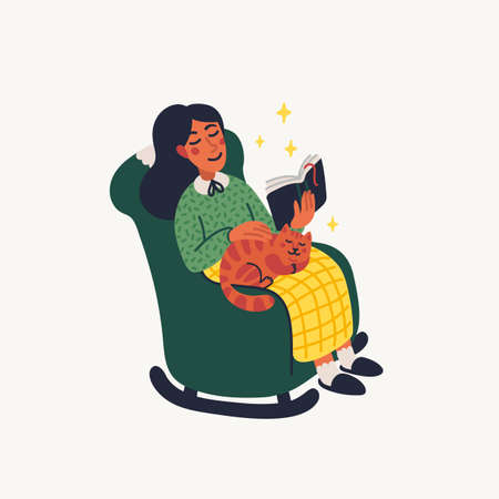 Introvert. Extraversion and introversion concept - young woman sitting in an armchair with a book and cat on her laps. Vector illustration in flat cartoon style on white background