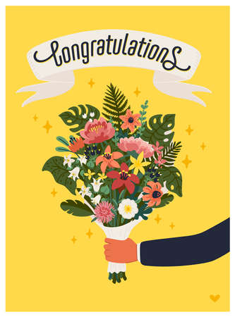 Congratulations card. Arm holding bouquet of flowers on yellow background. Vector illustration in flat cartoon style 矢量图像