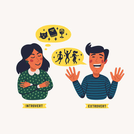 Extrovert and introvert. Extraversion and introversion concept - a young calm woman and talkative man. Vector illustration in flat cartoon style on white background Ilustración de vector