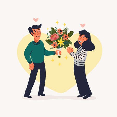 First Date. A man gives a woman a beautiful bouquet of flowers. Vector illustration in flat cartoon style on white background