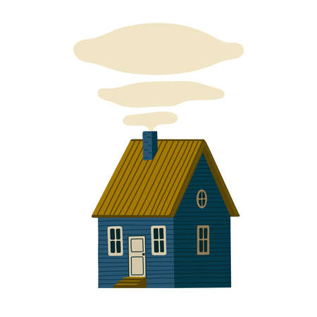 Blue house. Wooden Barn house in rustic style with smoke from the chimney. Vector illustration in flat cartoon style on white background