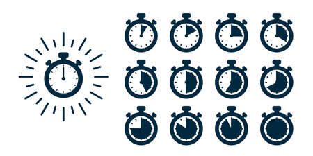 Timer icons set. Vector stopwatch illustration - clocks at different times. Fast delivery and express services concept