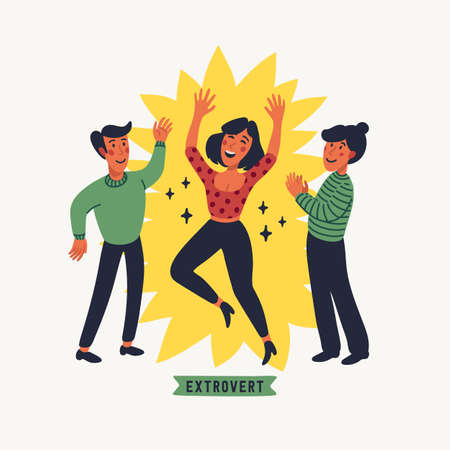 Extrovert. Extraversion and introversion concept - a young happy woman in the spotlight, talking with friends. Vector illustration in flat cartoon style on white background