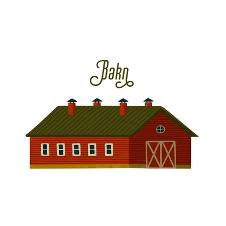 Red barn. Wooden Barn house in rustic retro style. Vector illustration in flat cartoon style on white background