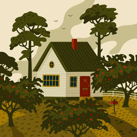 Farm house. Rural landscape with white countryside house in rustic style and green fruit garden. Vector illustration in flat cartoon style