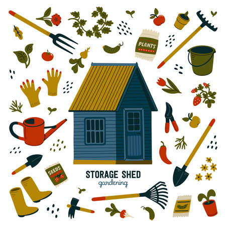 Storage shed. Blue storage shed and different types of tools for gardening and landscaping. Vector illustration in flat cartoon style on white background 矢量图像