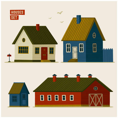Suburban houses set. Various Rural houses and barns. Vector illustration in flat cartoon style on white background