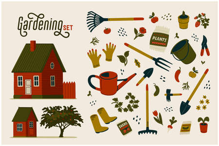 Gardening set. Red farmhouse, barn and different types of tools for gardening and landscaping. Vector illustration in flat cartoon style on white background 矢量图像