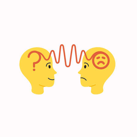 Empathy. Empathy concept - silhouettes of two human heads with an abstract image of emotions inside. Vector illustration in flat cartoon style on white background