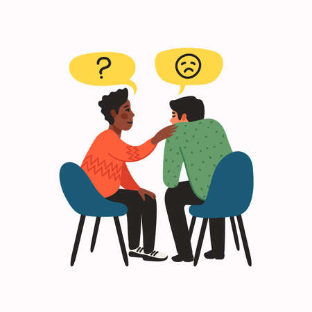 Empathy. Empathy and Compassion concept - African American young man comforting sad man. Helping hand or psychological care. Vector illustration in flat cartoon style on white background.