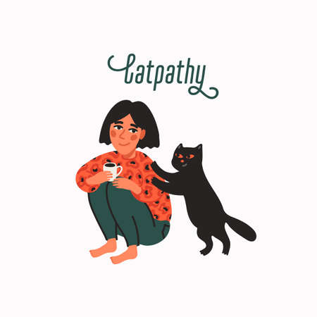 Empathy. Animal therapy and friendship - black cat comforting its owner woman. Helping hand or psychological care. Vector illustration in flat cartoon style on white background.