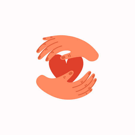 Charity icon. Empathy and Compassion icon - hands holding a heart. Helping hand or psychological care. Vector illustration in flat cartoon style on white background.