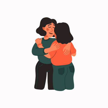 Empathy. Empathy and Compassion concept - young woman hugging a sad woman. Helping hand or psychological care, sisterhood. Vector illustration in flat cartoon style on white background.