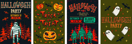 Halloween posters set. Vector collection of Halloween invitations or greeting cards. Flat cartoon style vector illustration