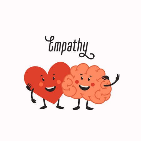 Empathy. Heart and brain teamwork - balance between emotions and rationality. Helping hand or psychological care. Vector illustration in flat cartoon style on white background. 矢量图像