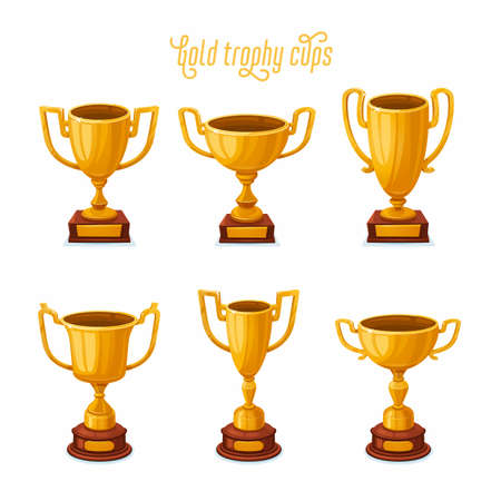 Gold trophy cups. Set of a golden award cups in different shapes - 1st place winner trophies. Flat style vector illustration. 矢量图像