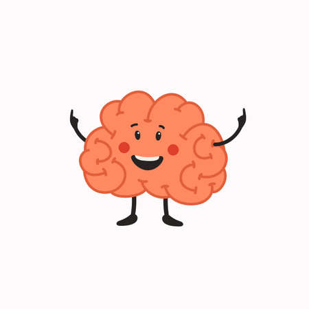 Happy Brain character. Human brain with cute face icon on white background. Vector illustration in flat cartoon style on white background