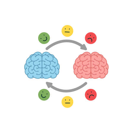 Empathy. Empathy and exchange of emotions concept - two human brains with an abstract scheme of emotions exchange. Vector illustration in flat cartoon style on white background