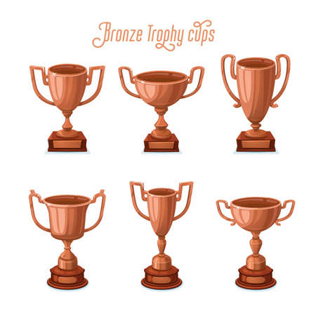 Bronze trophy cups. Bronze award cup set with different shapes - 3rd place winner trophies. Flat style vector illustration. 矢量图像
