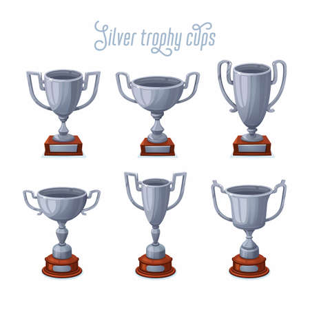 Silver trophy cups. Silver award cup set with different shapes - 2nd place winner trophies. Flat style vector illustration.