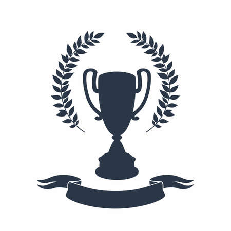 Trophy cup silhouette. Black silhouette of award cup with laurel wreath and ribbon on white background - 1st place winner trophies. Flat style vector illustration. 矢量图像