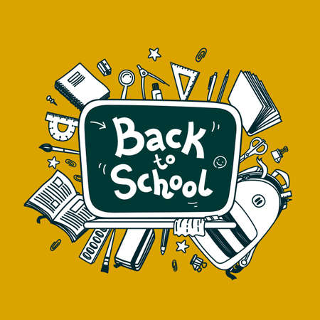 Back to school vector background. Line vector doodle illustration on yellow background. Sketchy vector design with school board and stationery for graphic design, web banners and prints 矢量图像