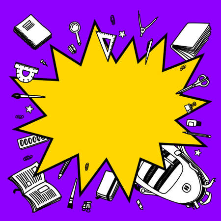 Back to school vector background. Cartoon comics bang speech bubble with line sketchy stationery on purple background. Line vector doodle illustration for graphic design, web banners and prints 矢量图像