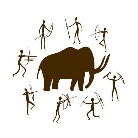 Cave paintings - ancient hand-painted petroglyphs. Mammoth and hunters in a primitive tribal style. Vector illustration. Illusztráció