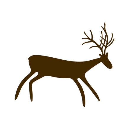 Deer Cave paintings - ancient hand-painted petroglyphs. Prehistoric animals in a primitive tribal style. Vector illustration. Ilustración de vector
