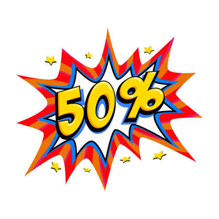 50% off sale. Comic red sale bang balloon - Pop art style discount promotion banner. Vector illustration.