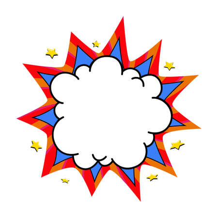 Comic boom balloon. Empty blue and red bang speech bubble in Pop Art Style. Vector illustration