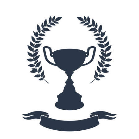 Trophy cup silhouette. Black silhouette of award cup with laurel wreath and ribbon on white background - 1st place winner trophies. Flat style vector illustration. Illusztráció