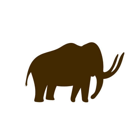 Mammoth Cave paintings - ancient hand-painted petroglyphs. Prehistoric animal in a primitive tribal style. Vector illustration.