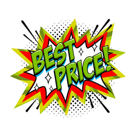 Best price Comic sale bang balloon - Pop art style discount promotion banner. Vector illustration.