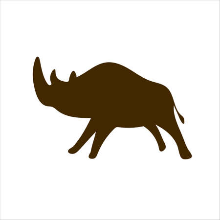 Rhinoceros Cave paintings - ancient hand-painted petroglyphs. Prehistoric animals in a primitive tribal style. Vector illustration.