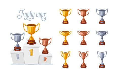 Trophy cups on a podium. Gold, silver, and bronze winner prize cups set with different shapes - 1st, 2nd, and 3rd place trophies on a white pedestal. Cartoon style vector illustration.