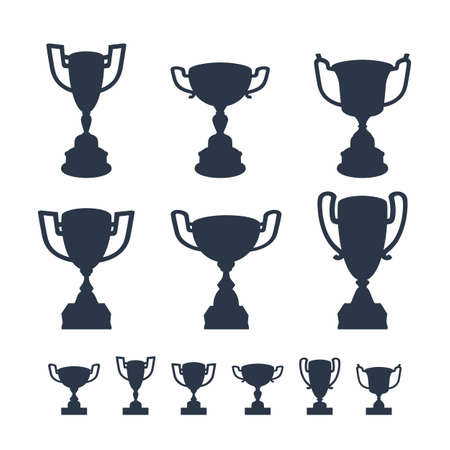 Trophy cups set. Black silhouettes of award cups with in different shapes on white background - 1st place winner trophies. Flat style vector illustration. Illusztráció