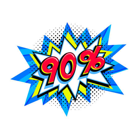 90 off sale. Comic blue sale bang balloon - Pop art style discount promotion banner. Vector illustration.
