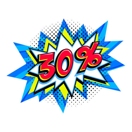 30 off sale. Comic blue sale bang balloon - Pop art style discount promotion banner. Vector illustration.