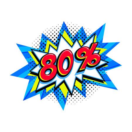 80 off sale. Comic blue sale bang balloon - Pop art style discount promotion banner. Vector illustration.
