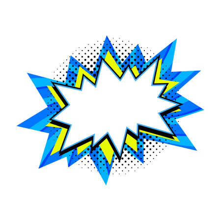 Comic boom balloon. Empty blue and yellow bang speech bubble in Pop Art Style. Vector illustration