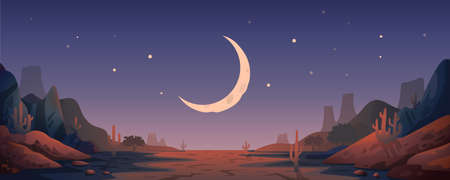 Desert landscape background. Night Panoramic landscape with desert mountains and half-moon. Vector illustration in flat cartoon style Illusztráció