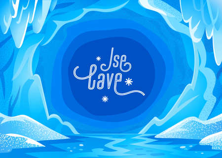 Ice cave landscape. Blue snowy winter background - Panoramic landscape with frozen icy cavern. Vector illustration in flat cartoon style Illusztráció