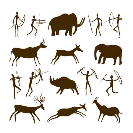 Cave paintings - ancient hand-painted petroglyphs. Various animals and hunters in a primitive tribal style. Vector illustration.