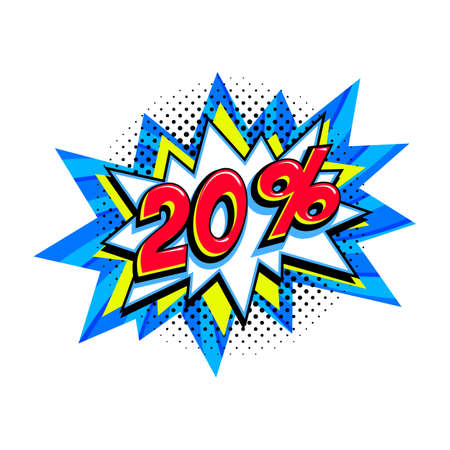 20 off sale. Comic blue sale bang balloon - Pop art style discount promotion banner. Vector illustration.