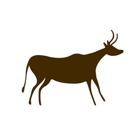 Bull Cave paintings - ancient hand-painted petroglyphs. Prehistoric animal in a primitive style. Vector illustration. Ilustración de vector