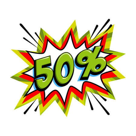 50 off sale. Comic green sale bang balloon - Pop art style discount promotion banner. Vector illustration.
