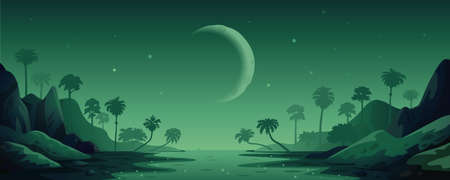 jungle vector landscape. Night Panoramic landscape with rain forest and river. Vector illustration in flat cartoon style Illusztráció
