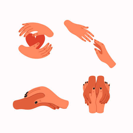 Helping hand and Empathy icons. Human hands gestures. Psychological care, Empathy, and Compassion. Vector illustration in flat cartoon style.